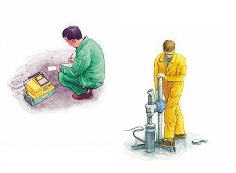 Bild 13:20 Packningskontroll, isotopmätare och upptagning av borrkärnor