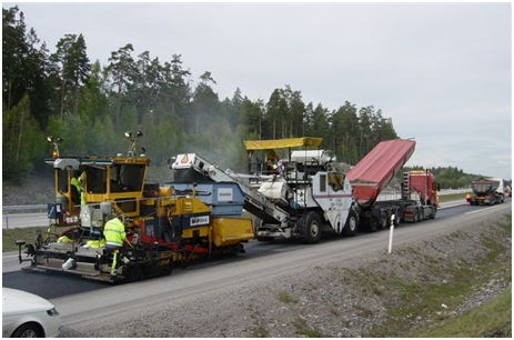 Användning av värmekamera och Shuttly Buggy vid läggning av asfalt. Observera att på läggaren är en blandningskasset monterad i syfte att förhindra separationer hos asfaltmassan.
