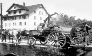 Gjutasfalt tillverkning på tidigt 1900tal.