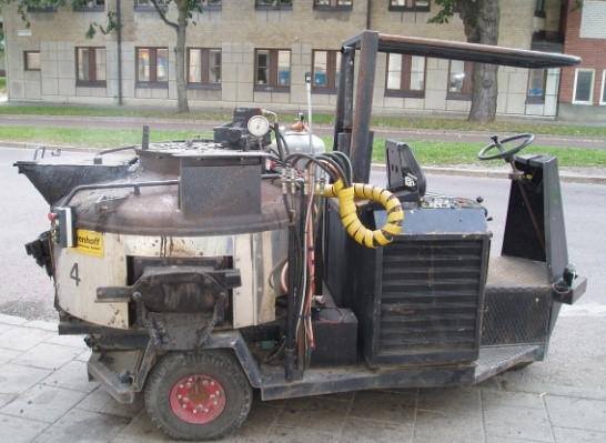 Liten hjulburen transport- och uppvärmningsgryta. (Dumper)
